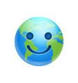cartoon earth face happy smile icon funny planet vector image vector image