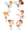 cartoon little kid training karate collection vector image vector image