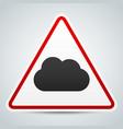 cloud symbol on road sign storm ahead vector image