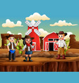 cowboy and cowgirl on background farm vector image vector image