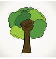 creative green tree with hand vector image vector image