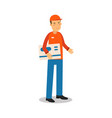 delivery service worker standing and holding big vector image vector image