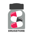 drugstore promotional emblem with jar of capsule vector image