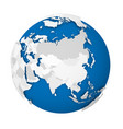earth globe 3d world map with grey political map vector image vector image