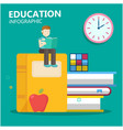 education infographic young man sit on big book cl vector image