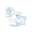 elderly woman communicates on internet comics vector image