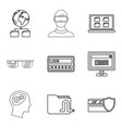 eleaning icons set outline style vector image vector image