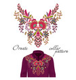 embroidery ethnic flowers neck pattern vector image vector image