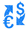 Euro dollar exchange grunge icon vector image