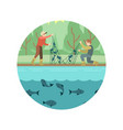 fishing men with fish and equipment emblem vector image