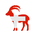 Flag of Switzerland with capricorn vector image vector image