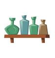 glass bottles various shapes vodka rum whiskey vector image vector image