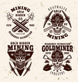 gold digging industry set emblems vector image vector image