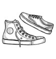 hand drawn two sneakers vector image