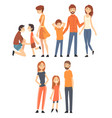 happy family with children set smiling mothers vector image vector image