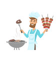 happy man in chef hat grilling meat on gill vector image vector image