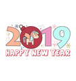 happy new year 2019 card with cute unicorn for vector image