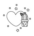 heart and cactus black and white vector image