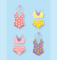 hello summer holiday swimsuits and bikini design vector image