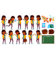 indian girl set primary school child vector image