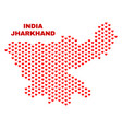 jharkhand state map - mosaic of lovely hearts vector image vector image