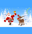 joyful santa and reindeer vector image
