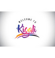 kigali welcome to message in purple vibrant vector image vector image