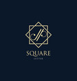 logo abstract letter j and p with square luxury vector image