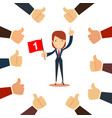 many hands congratulate a winner with thumbs up vector image vector image