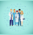 medicine team concept with different doctors vector image vector image