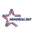 memorial day star made ribbon in national flag vector image