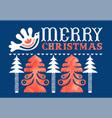 merry christmas watercolor folk pine tree card vector image vector image
