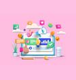 modern 3d of digital marketing vector image vector image