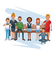 people connecting cartoons vector image vector image