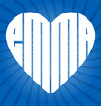popular female name Emma in heart vector image vector image