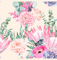 seamless pattern with protea and roses vector image vector image
