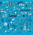 Seamless pattern with summer set of isolated cute