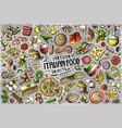 set italian food theme items objects vector image