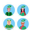 set mix race man woman christmas elf santa helper vector image vector image