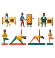 set of sport and business characters vector image vector image