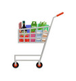 shopping cart with products vector image vector image
