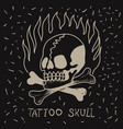 skull and bones on fire on a black background vector image vector image
