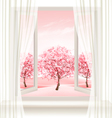 Spring background with an open window and vector image vector image