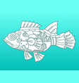 steampunk style fish color background vector image vector image