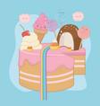 sweet cake strawberry cream with kawaii vector image vector image