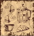 Tea time objects collection on vintage background vector image