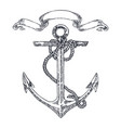 vintage anchor graphic on white background hand vector image vector image