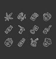 weed products chalk icons set marijuana vector image vector image