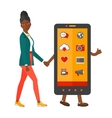 Woman walking with smartphone vector image vector image