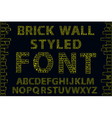 Yellow empty decorative brick wall style font vector image vector image